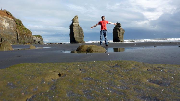 Fotografía de la playa 3 Sisters Beach en la isla Norte de Nueva Zelanda