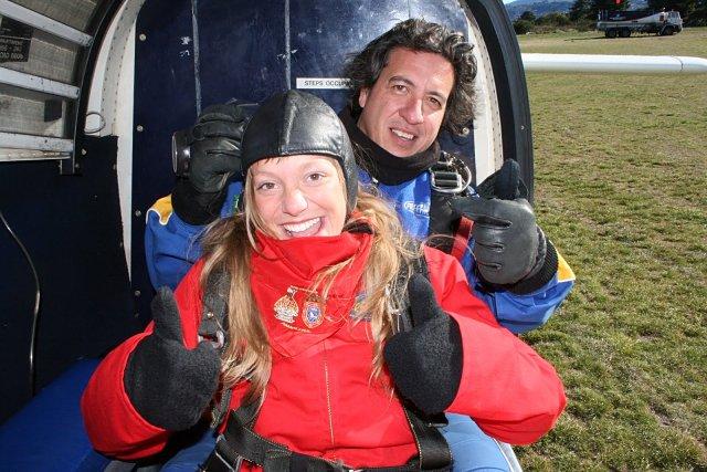 Antes de saltar en paracaídas lago Taupo