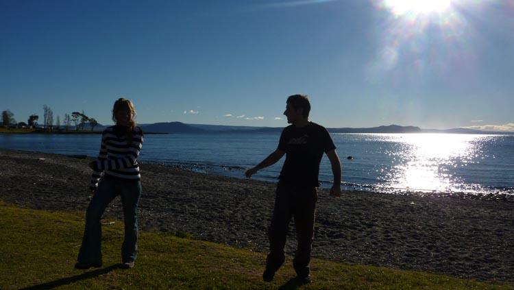 Jugando en el lago Taupo