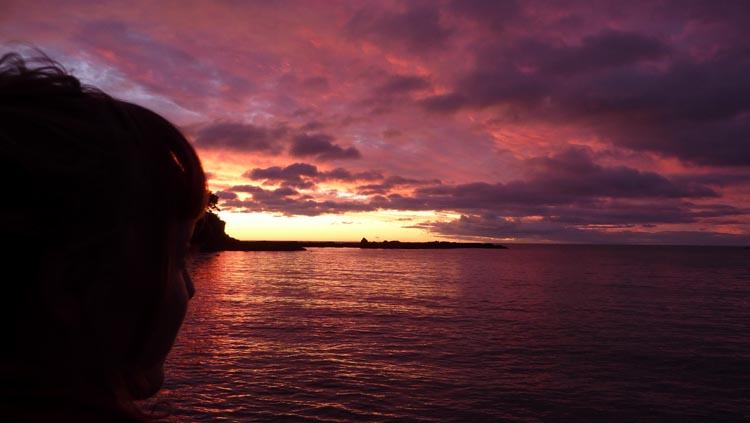 Con la mirada perdida en el atardecer de Maraehako Bay