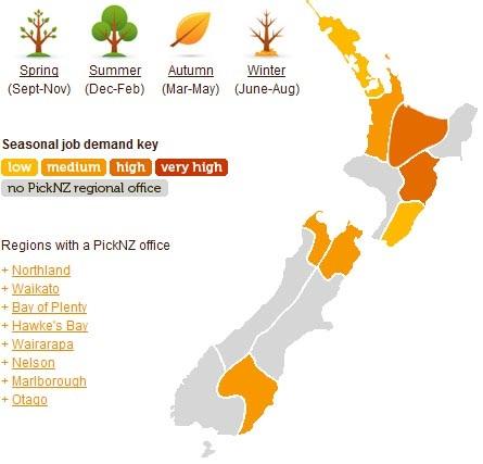 Recogida de fruta primavera en Nueva Zelanda