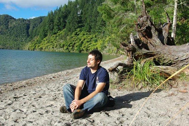Cogiendo energía en el Blue Lake de Rotorua