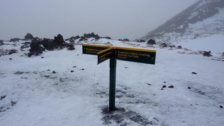 Punto de separación en la ascensión Tongariro Crossing
