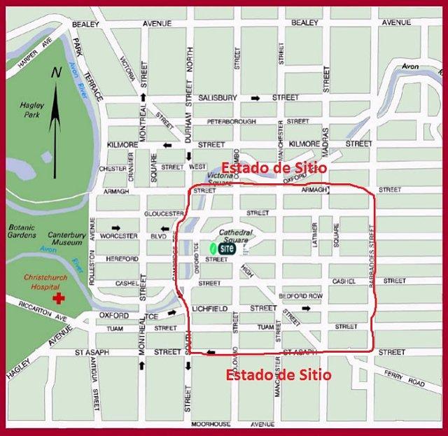 Mapa del centro de la ciudad de Christchurch