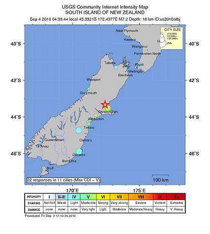 Mapa terremoto Christchurch