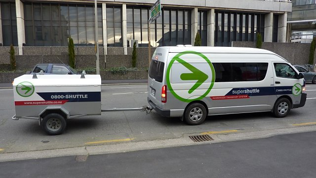 Shuttle Bus haciendo el agosto en Christchurch