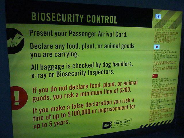 Panel de control de bioseguridad en Nueva Zelanda: declarar o eliminar