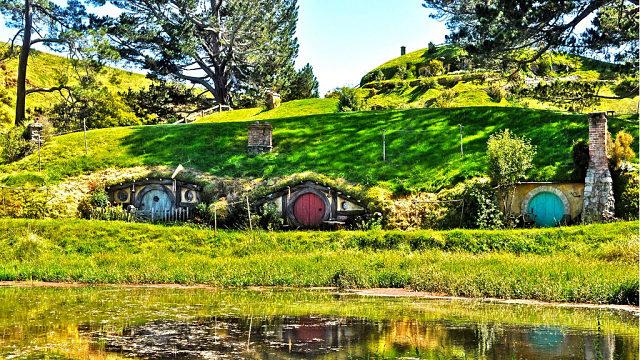 Casas en Hobbiton de El señor de los anillos