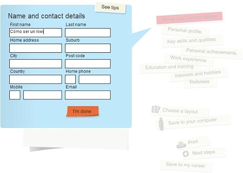 Pantallazo de la herramienta que usaremos para elaborar un CV de Nueva Zelanda online